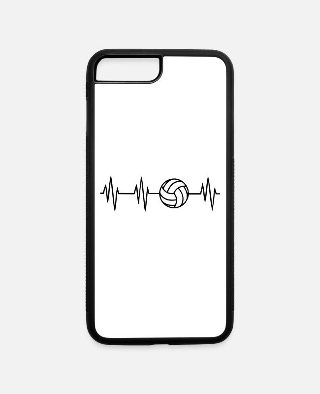 Volleyball Heartbeat iPhone Cases - Volleyball Heartbeat, Volleyball, Volleyball team - iPhone 7 & 8 Plus Case white/black
