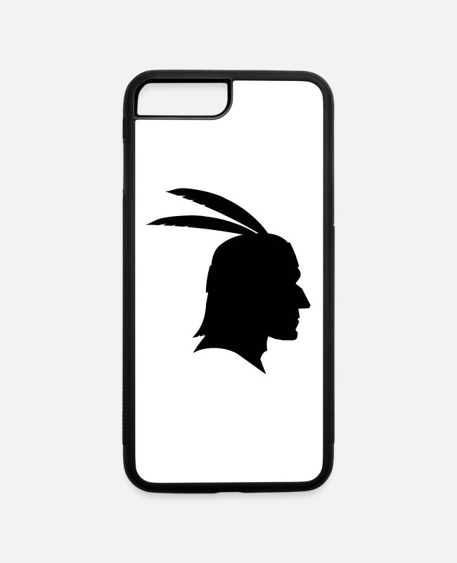 Tent iPhone Cases - indian indianer american tent zelt teepee tomahawk - iPhone 7 & 8 Plus Case white/black