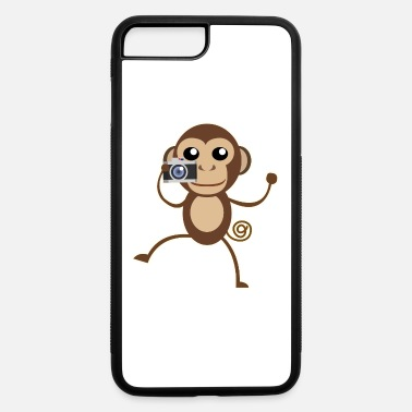 Primate Little brown monkey cartoon enjoy take camera. - iPhone 7 & 8 Plus Case