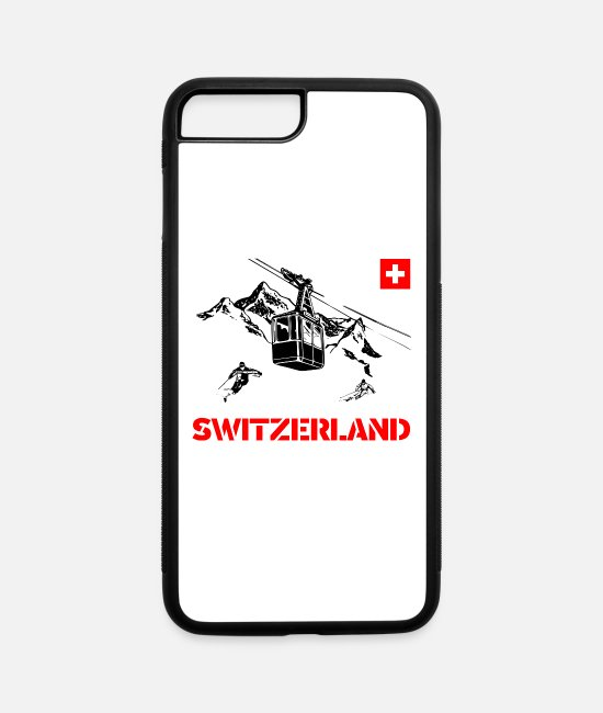Nature iPhone Cases - Switzerland with mountains and gondola and skier - iPhone 7 & 8 Plus Case white/black
