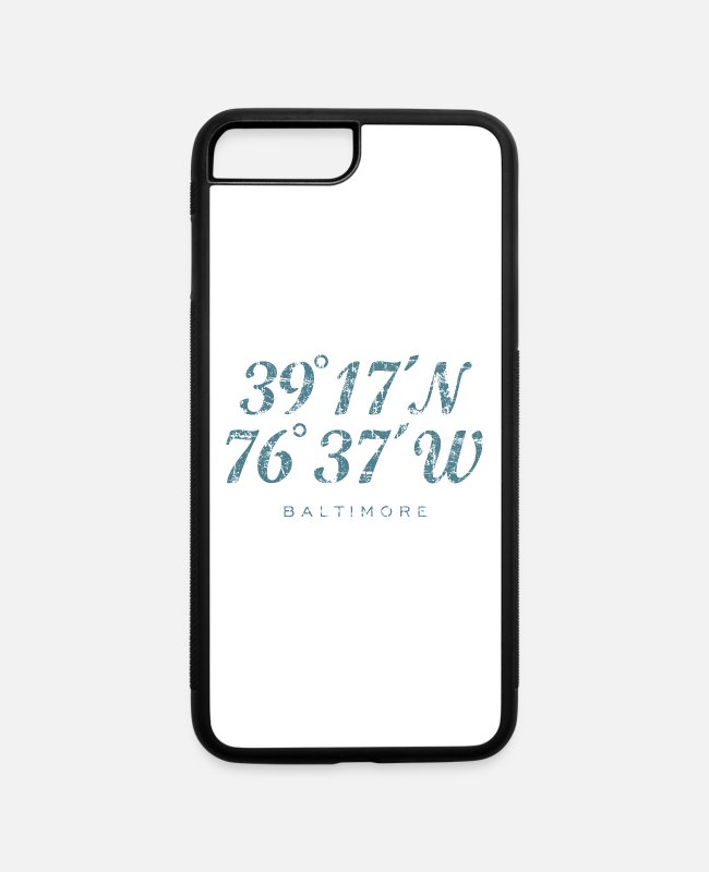 Geo iPhone Cases - Baltimore Coordinates (Vintage Blue) - iPhone 7 & 8 Plus Case white/black