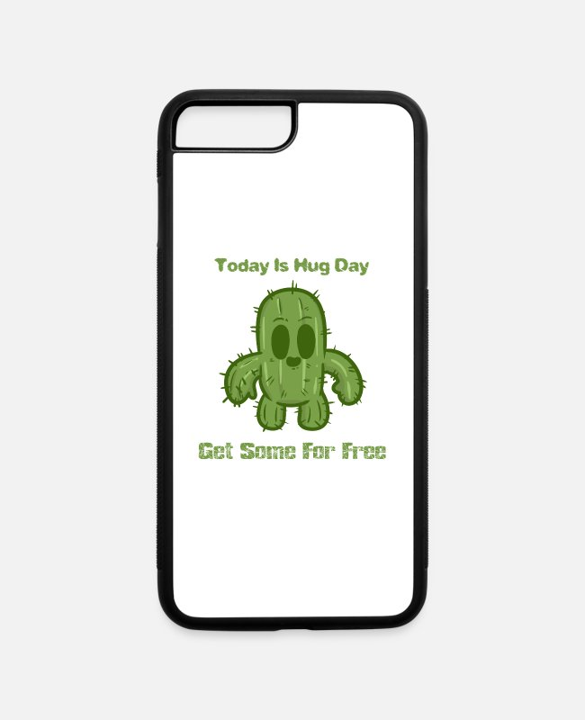 Hug Me iPhone Cases - Hug Day Hugging Hugs Cuddles Cuddle Cactus - iPhone 7 & 8 Plus Case white/black