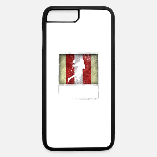 College iPhone Cases - Distressed Design for LACROSSE - iPhone 7 & 8 Plus Case white/black
