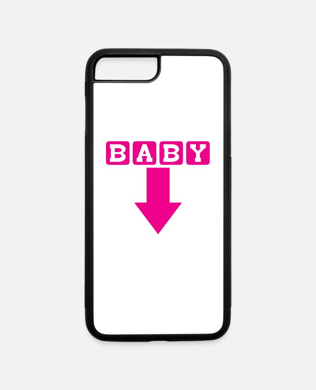 Arrow iPhone Cases - Baby (Arrow down) | Baby Shower Parties - iPhone 7 & 8 Plus Case white/black
