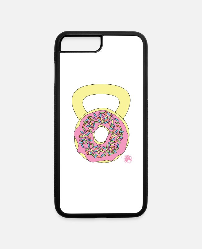 Funny Mike iPhone Cases - Doughnut Kettlebell Outline - iPhone 7 & 8 Plus Case white/black