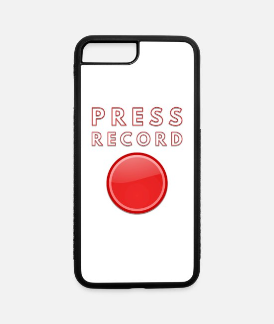 Red iPhone Cases - Press Record Bold Graphic Record Button - iPhone 7 & 8 Plus Case white/black
