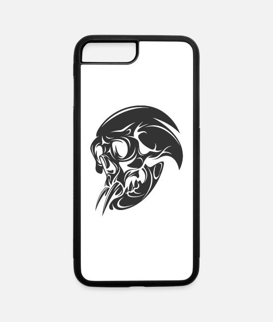 Shape iPhone Cases - T Shirt monster skull shape vector image tatoo fun - iPhone 7 & 8 Plus Case white/black