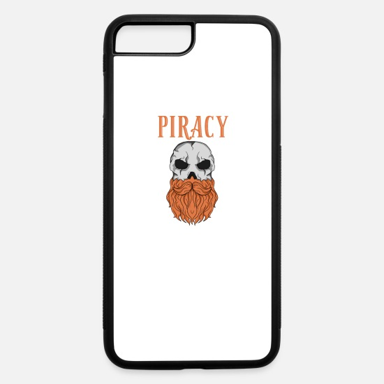 College iPhone Cases - beard skull piracy cool gothic gift idea - iPhone 7 & 8 Plus Case white/black