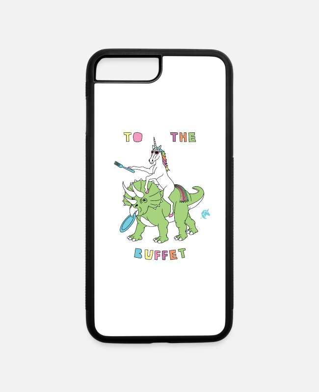Dinosaurs iPhone Cases - To The Buffet Unicorn Riding Dinosaur - iPhone 7 & 8 Plus Case white/black