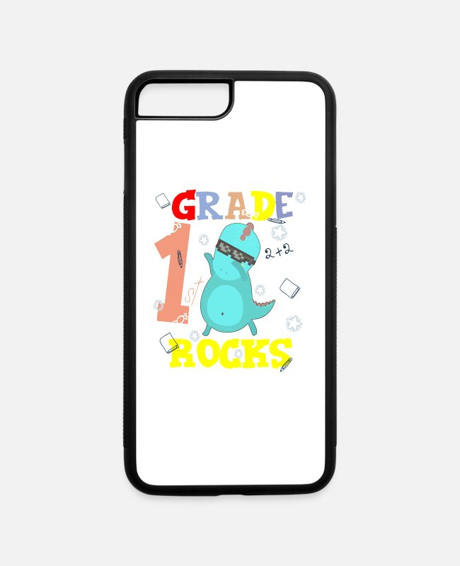 School Beginner iPhone Cases - 1ST GRADE ROCKS First Grader School Starter Shirt - iPhone 7 & 8 Plus Case white/black