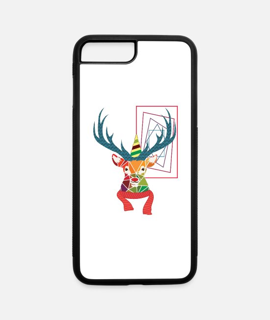 Stag iPhone Cases - Colourful Geometric Christmas Reindeer T-Shirt - iPhone 7 & 8 Plus Case white/black