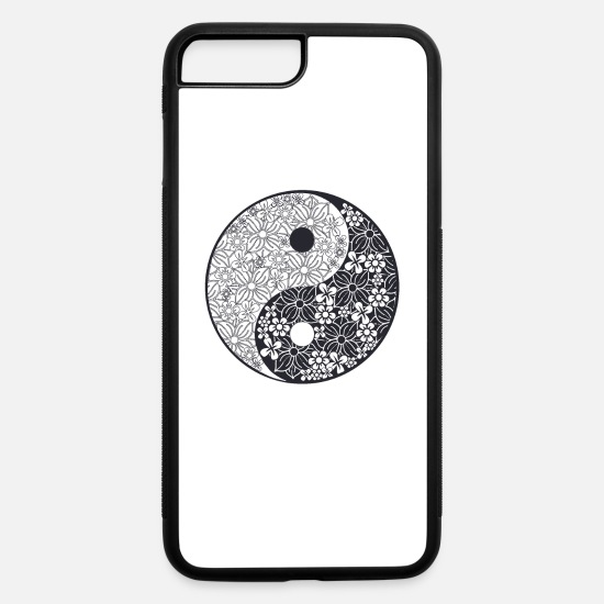 Buddha iPhone Cases - Cool Yin Yang Floral Design T-Shirt - iPhone 7 & 8 Plus Case white/black