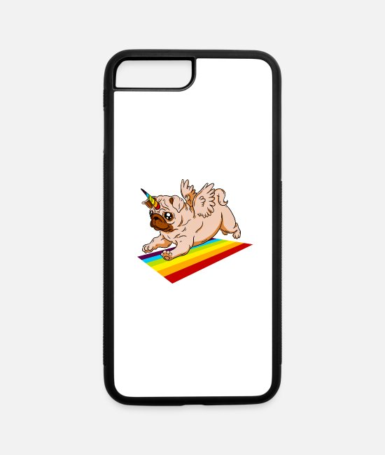 Scientology iPhone Cases - pug unicorn - iPhone 7 & 8 Plus Case white/black