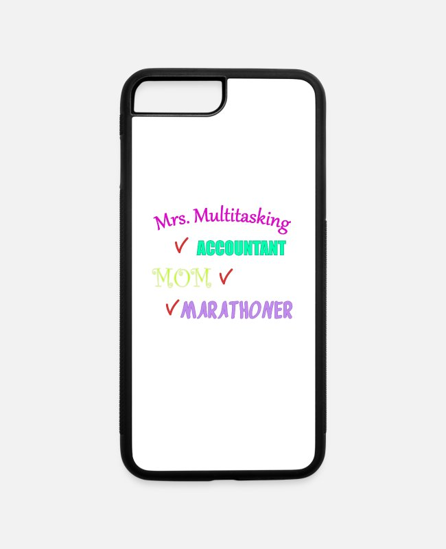 Half Marathon iPhone Cases - Multitasking Accountant Marathoner Running Gift - iPhone 7 & 8 Plus Case white/black