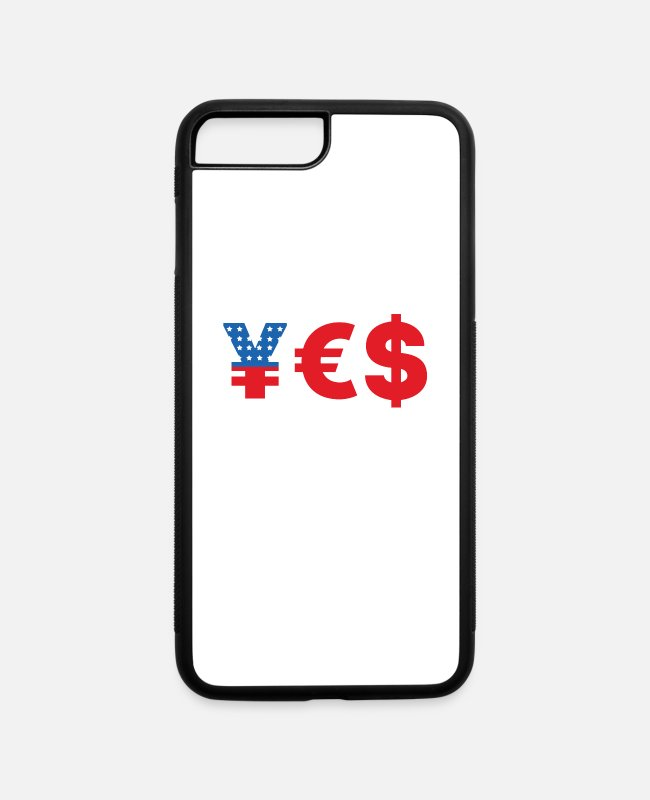 Cash Money iPhone Cases - yes money currency yen euro dollars american flag - iPhone 7 & 8 Plus Case white/black