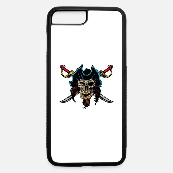 Pirate iPhone Cases - Halloween Skull Pirate Shirt - Dark Skull Pirate - iPhone 7 & 8 Plus Case white/black