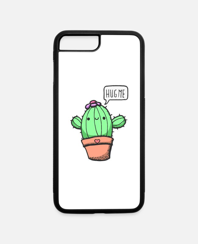Spikes iPhone Cases - Cute Cactus Hug gift idea Christmas x-mas plant - iPhone 7 & 8 Plus Case white/black