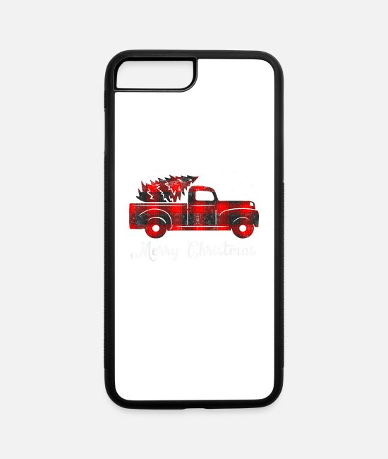 Red iPhone Cases - Buffalo Plaid Christmas Tree Red Truck - iPhone 7 & 8 Plus Case white/black