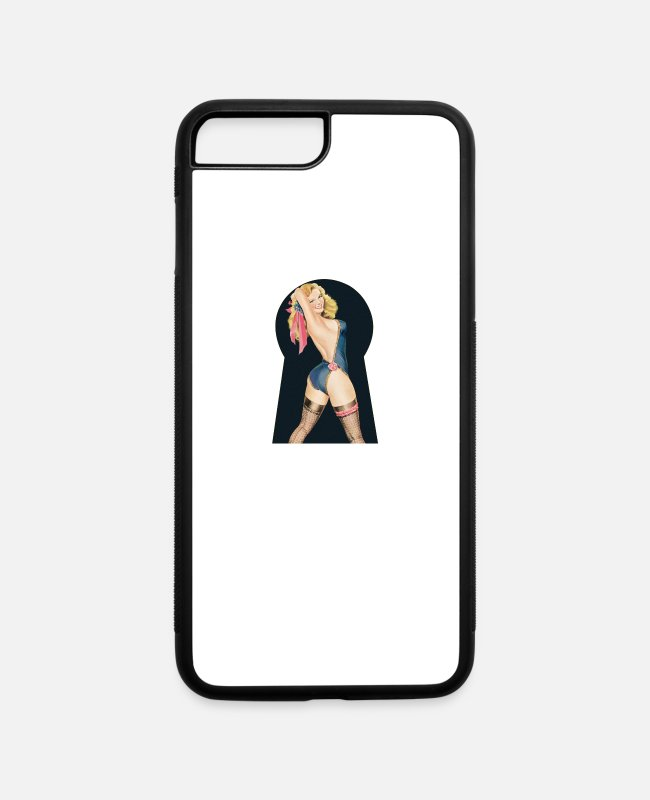 Bachelorette Party iPhone Cases - Nostalgic Pin Up Girls Keyhole Bachelor Party - iPhone 7 & 8 Plus Case white/black