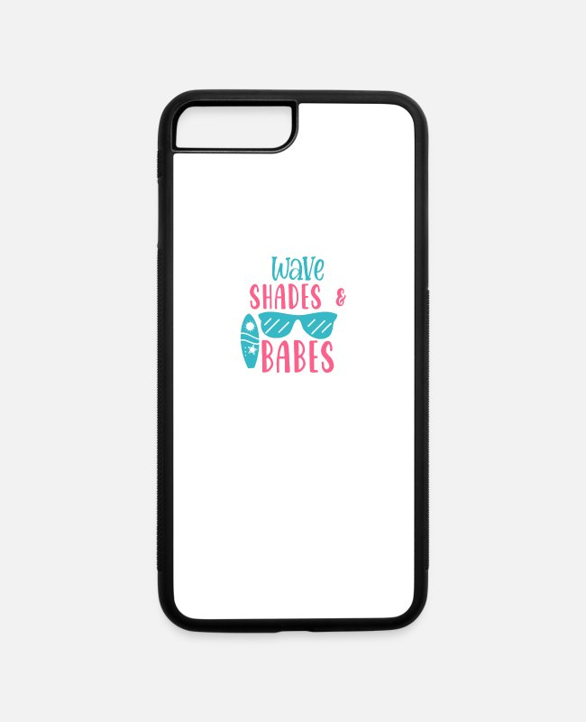 Wave iPhone Cases - Baby Shower Pregnant Newborn Waves SHades and - iPhone 7 & 8 Plus Case white/black