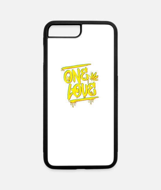 Rastafari iPhone Cases - No Violence and No Racism. One Love, One Heart! - iPhone 7 & 8 Plus Case white/black
