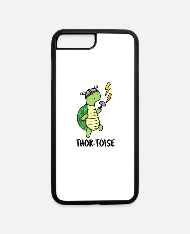 Thor iPhone Cases - Thor-toise Cute Tortoise Pun - iPhone 7 & 8 Plus Case white/black