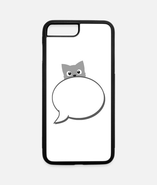 Ass iPhone Cases - speech balloon with cat - iPhone 7 & 8 Plus Case white/black