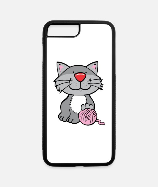 Ball iPhone Cases - Cat with yarn - iPhone 7 & 8 Plus Case white/black