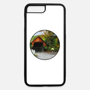 Designs By Susan Bicyclist racing toward Middle Bridge in Woodstock - iPhone 7 & 8 Plus Case