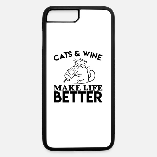 Love iPhone Cases - cats and wine make life better catlove pets wine - iPhone 7 & 8 Plus Case white/black