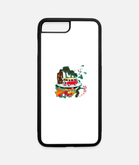 Palm Trees iPhone Cases - Summer Vacation - iPhone 7 & 8 Plus Case white/black