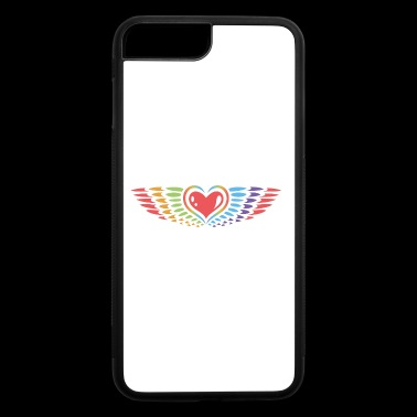 Heart with wings, rainbow style, peace. - iPhone 7 Plus/8 Plus Rubber Case