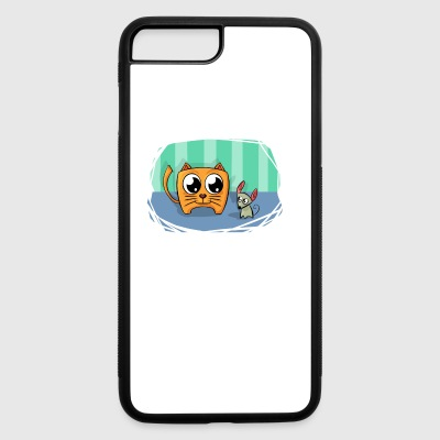 Cat and Mouse Friends Cartoon Abstract Art - iPhone 7 Plus/8 Plus Rubber Case