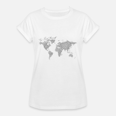 Go Text Yourself World Map as a Mandala - Go find yourself Black - Women's Relaxed Fit T-Shirt