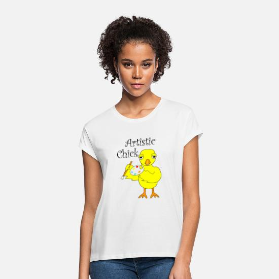 Art T-Shirts - Artistic Chick - Women's Loose Fit T-Shirt white