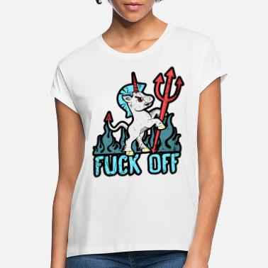 Horns Fuck Off Angry Unicorn Mad Devil Fork Gift Hell - Women's Loose Fit T-Shirt