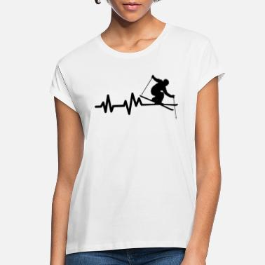 Ski Resort Skiing Ski Skier Heartbeat - Women's Loose Fit T-Shirt