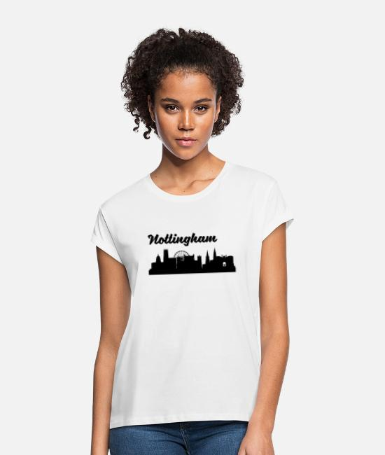 Nottingham T-Shirts - Nottingham Skyline - Women's Loose Fit T-Shirt white
