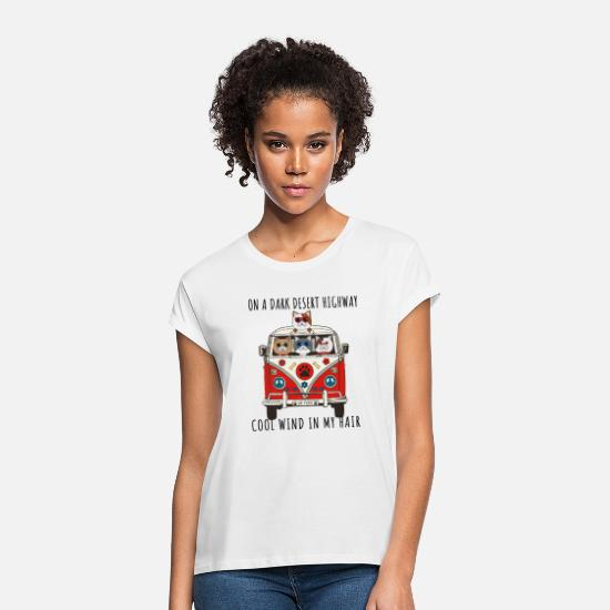 Cool T-Shirts - Exotic Shorthair Cat On A Dark Desert Highway Cool - Women's Loose Fit T-Shirt white