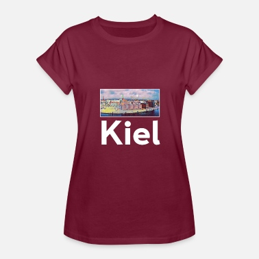 Kiel Kiel City Skyline Sights Silhouette Landmark Art - Women's Relaxed Fit T-Shirt