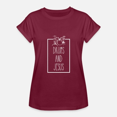 Drum Crossing Drums And Jesus - Women's Relaxed Fit T-Shirt