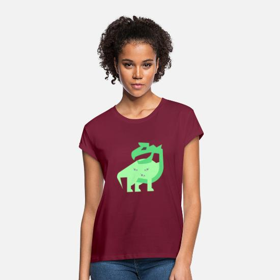 Gift Idea T-Shirts - dino - Women's Loose Fit T-Shirt burgundy