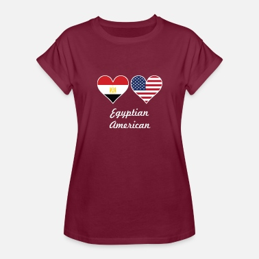 Egyptian American Flag Egyptian American Flag Hearts - Women's Relaxed Fit T-Shirt