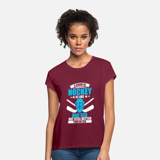 Gift Idea T-Shirts - Draw in Hockey - Women's Loose Fit T-Shirt burgundy
