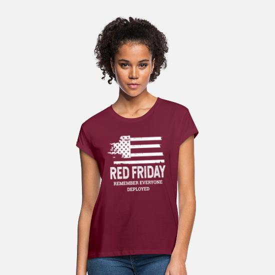 Military T-Shirts - Red Friday RED American Flag Military - Women's Loose Fit T-Shirt burgundy