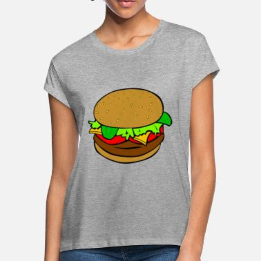 Cheese Food Burger Cheese food Cartoon - Women's Loose Fit T-Shirt