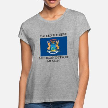 Detroit State Flag Michigan Detroit LDS Mission Called to Serve Flag - Women's Loose Fit T-Shirt