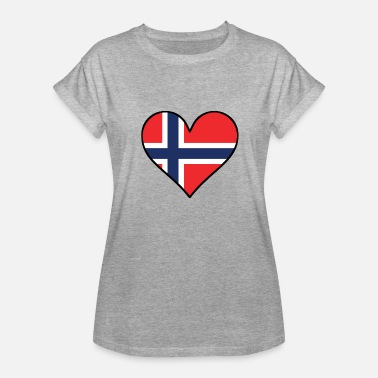 Norwegian Heart Norwegian Flag Heart - Women's Relaxed Fit T-Shirt