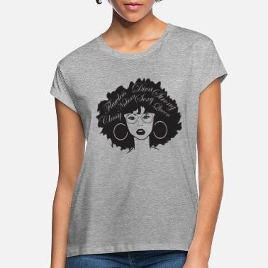 Latina Black Woman QuotesNubian Princess Queen Afro Hair - Women's Loose Fit T-Shirt