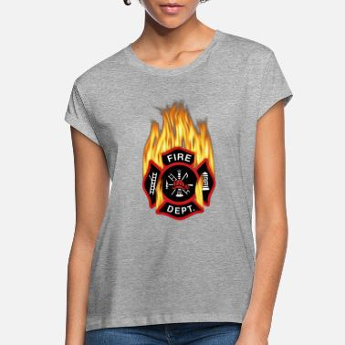 Emblem Flaming Red Firefighter Badge - Women's Loose Fit T-Shirt